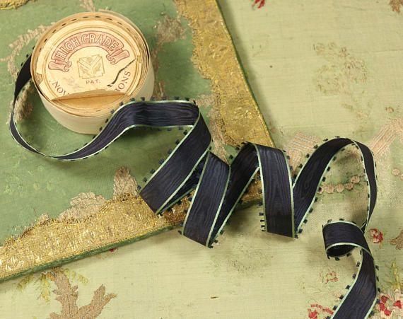 Antique Silk Satin 1910 S Ribbon Navy Green Picot Edge Stripe Navy And Green Vintage Ribbon Quilt Dress