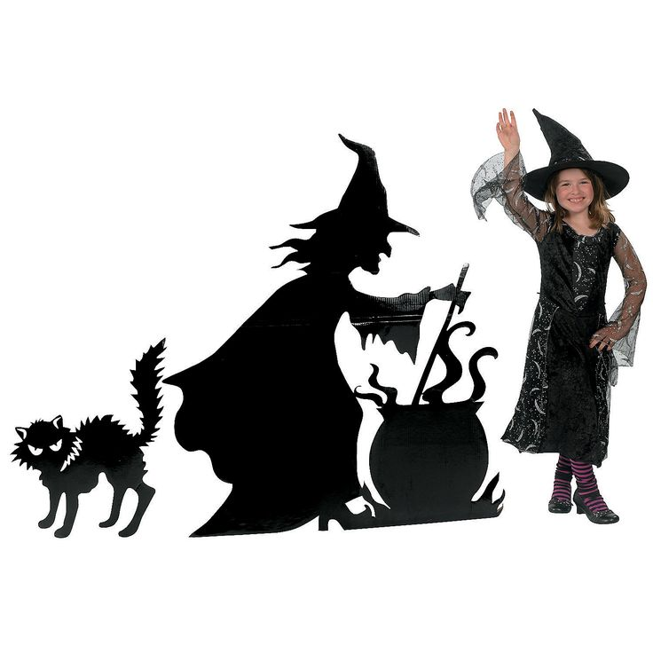 Witch with Cauldron & Cat Stand-Up - TerrysVillage.com - This would be a good and scary silhouette in the window
