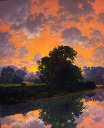 """Maxfield Parrish - painting """"The River at Ascutney""""  (1942)  oil on panel  23"""" X 18 1/2"""""""