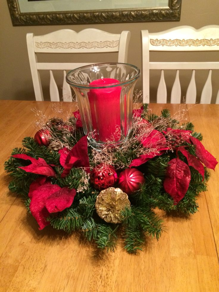 Christmas centerpiece made with a wreath and a plate ...