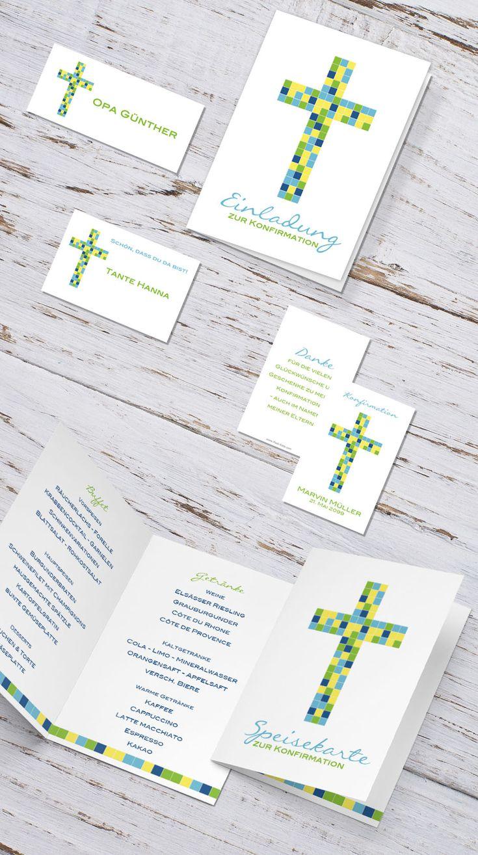 #Kommunion #Konfirmation #Firmung #Erstkommunion #Einladungen #Tischkarten #Menükarten #Gastgeschenk #Einladungskarten #Kreuz #Mosaik #grün #gelb #blau