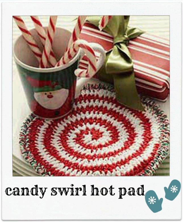 Candy swirl hot pad! Perhaps as hostess gift? :) #yarn #crochet: Holiday, Swirls Hotpads, Crochet Christmas, Candies Swirls, Candies Canes, Crafts Stores, Crochet Pattern, Hot Pads, Knits