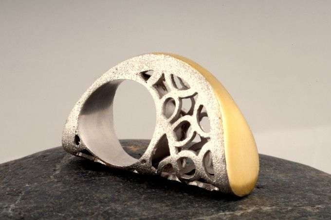 Half Moon Treasure ring Woman-Classic-Ring-002 Artistic jewelry, sculptural jewels, architectural jewellery, art jewelry, wearable sculptures, ring sculptures, artistic rings, sculptural rings, architectural rings
