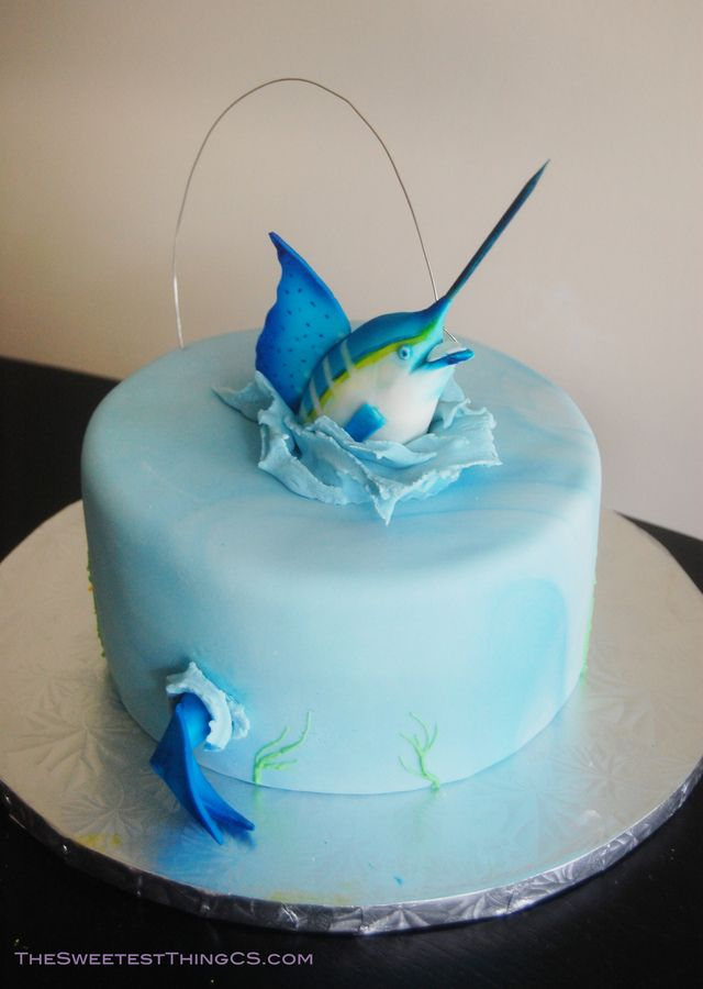 Fisherman Cake! Marble cake with swiss meringue buttercream. fondant Marlin. I named him Manny the Marlin. C=