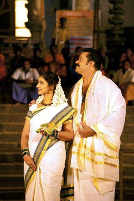 Suresh Gopi and Radhika in front of Padmanabhaswami temple rare pictures
