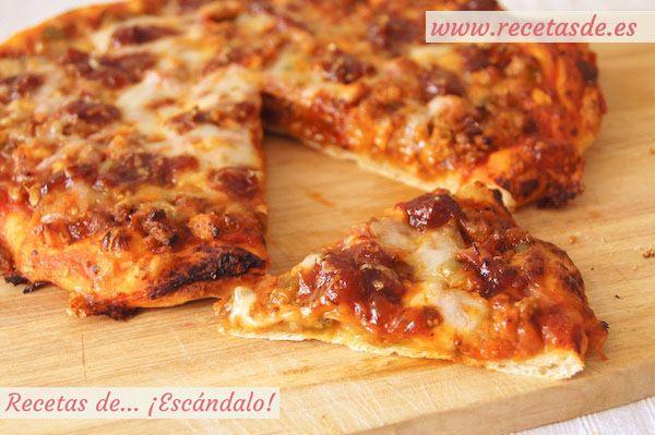 Deliciosa, jugosa y 100% casera pizza barbacoa, elaborada con masa de pizza casera y tu propia salsa barbacoa, con ingredientes frescos y naturales :P