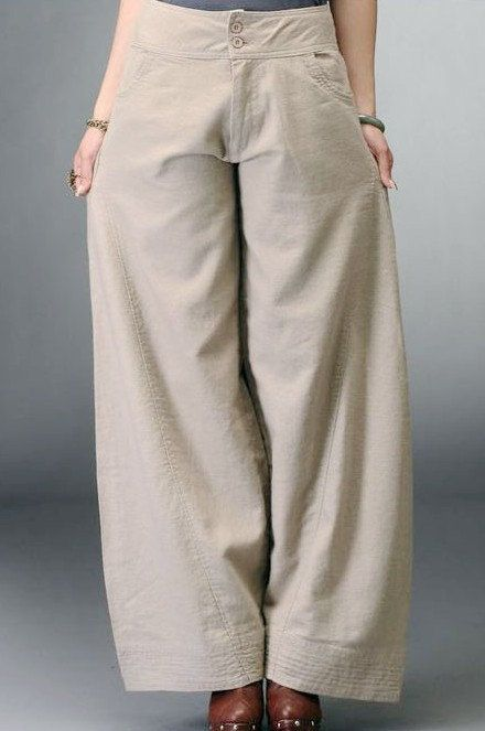 Beige /Blue women pants linen cotton pants wide leg women pants--TR008