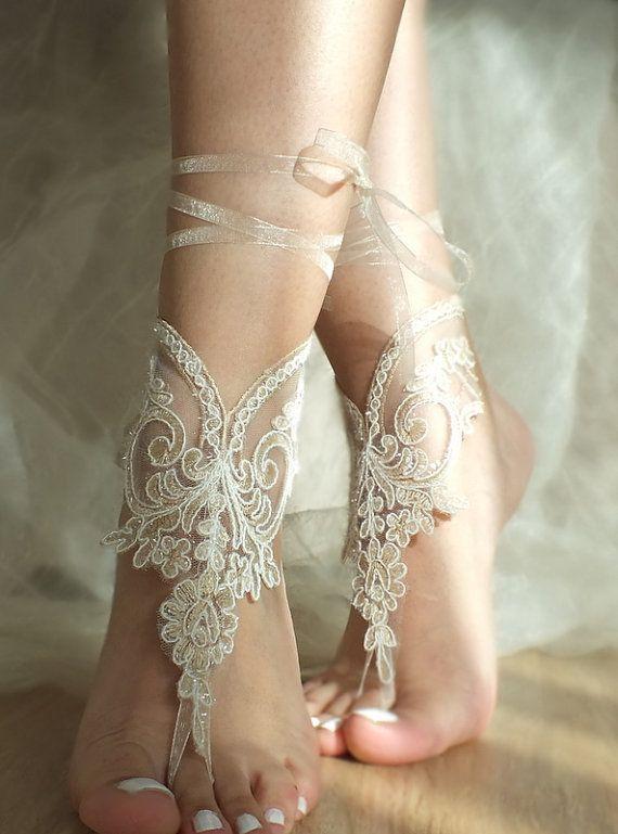 Champagne ivory frame Beach wedding barefoot sandals by ByVIVIENN