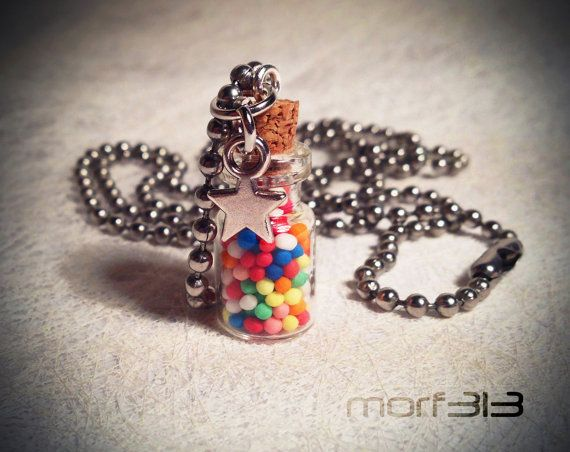 Rainbow Candy Sweet Sprinkles Bottle Necklace. Glass by morfart