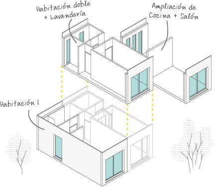 Ilustración del montaje de los módulos de nuestras casas modulares prefabricadas de hormigón.