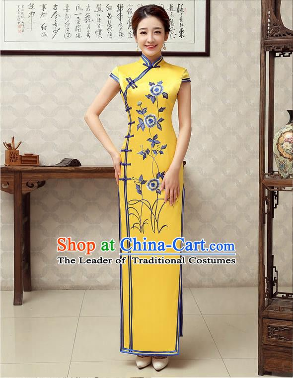 5de4fc490 Ancient Chinese Costumes, Manchu Clothing Qipao, Improved Mandarin Collar  Embroidered Silk Long Cheongsam, Traditional Cheongsam Wedding Toast Dress  for ...