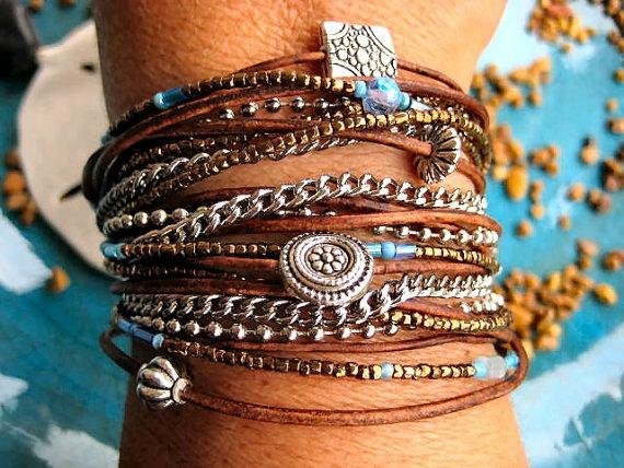 Boho Chic Endless Leather Wrap Beaded Bracelet with by LeatherDiva, $38.00