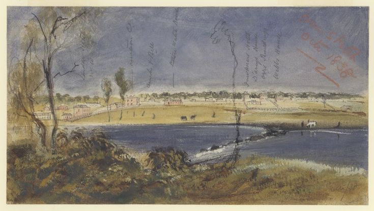 melbourne from the falls from a sketch 1838