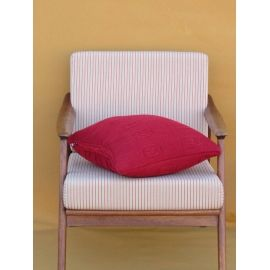 Relief Motif Cushion - Burgundy