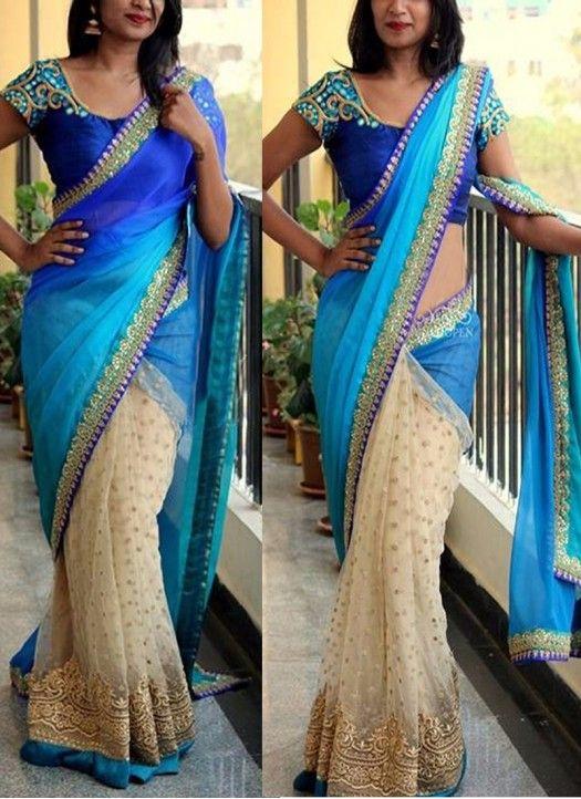 Blue And Cream Net Georgette Fancy Designer Saree