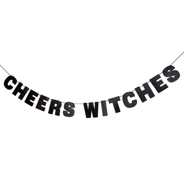 CHEERS WITCHES Glitter Banner Wall Decor Sign Sparkly Black Spooky... ($18) ❤ liked on Polyvore featuring home, home decor, holiday decorations, text, filler, phrase, quotes, saying, handmade home decor and text signs