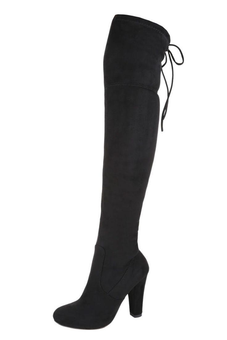 Overknee-Stiefel mit Absatz und Bindung hinten