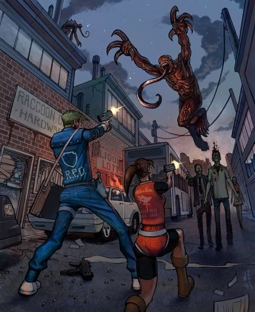 Resident Evil 2 by ~electronicron.  Fabulous flying Licker.  XD