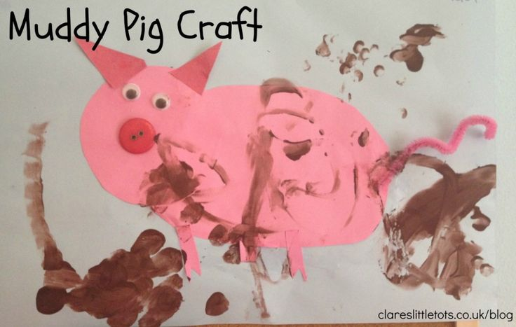 Easy and messy muddy pig craft for toddlers.