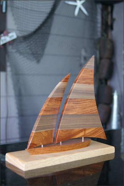 Wooden Sailboat The Jib Front Sail Can Swing Back And Forth Allowing You