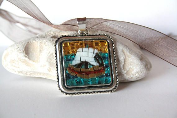 Collana Micro Mosaico Barchetta San Apollinare / Ravenna /
