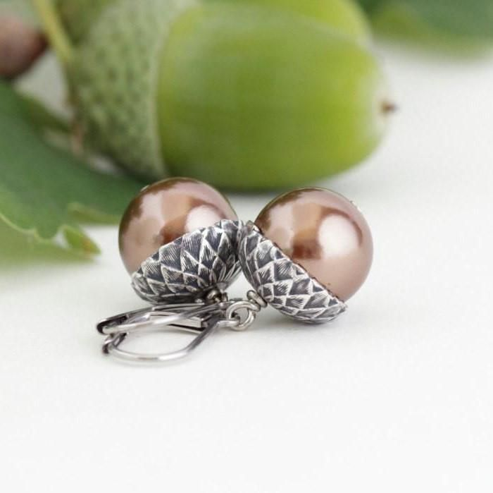 Antique Silver Brass Acorn Earrings With Bronze Pearls