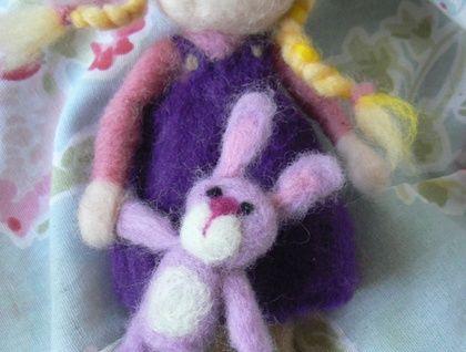 Needle Felted' Girl with Bunny'