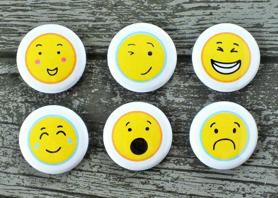 """Emoji Faces Flair Buttons. Super cute 1"""" Flair Buttons to add funny faces to your projects!"""