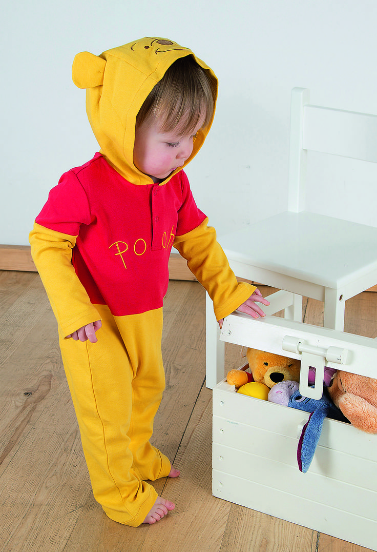 """Winnie the Pooh Jersey Romper with Hood ~  """"A day without a friend is like a pot without a single drop of honey left inside"""" - Winnie the Pooh  This lightweight cotton jersey romper suit has an easy popper fastening and embroidering on the front of the body.  The hood has an embroidered Winnie the Pooh face and ears.  All sizes except 12-18 mths have integral feet. 0-3 mths, 3-6 mths, 6-9 mths, 9-12 mths and 12-18 mths  £18.00"""