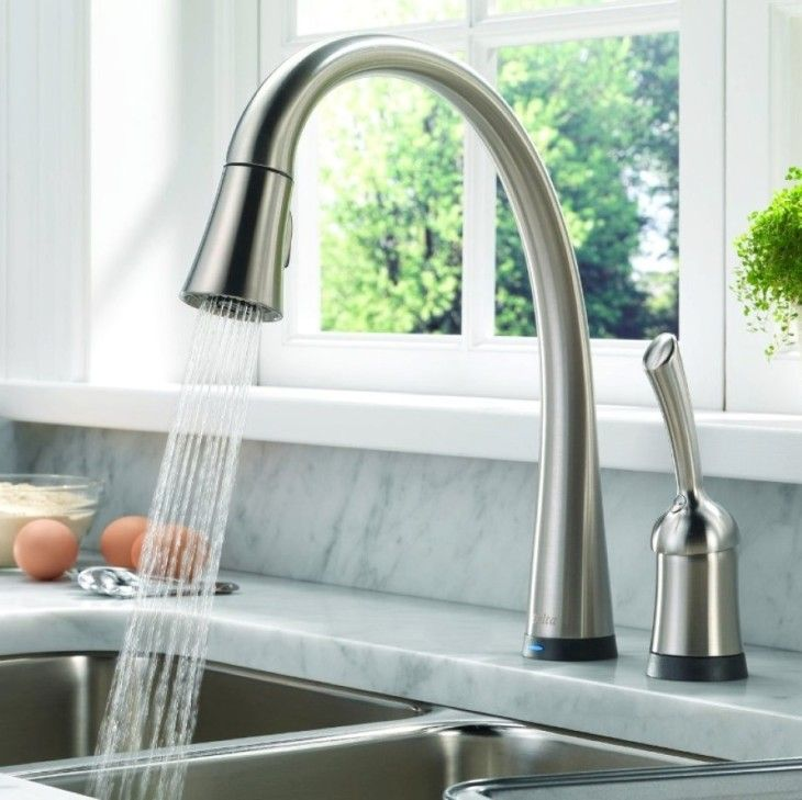 Amazing Stainless Steel Modern Kitchen Faucet Feats White Marble Countertop - pictures, photos, images
