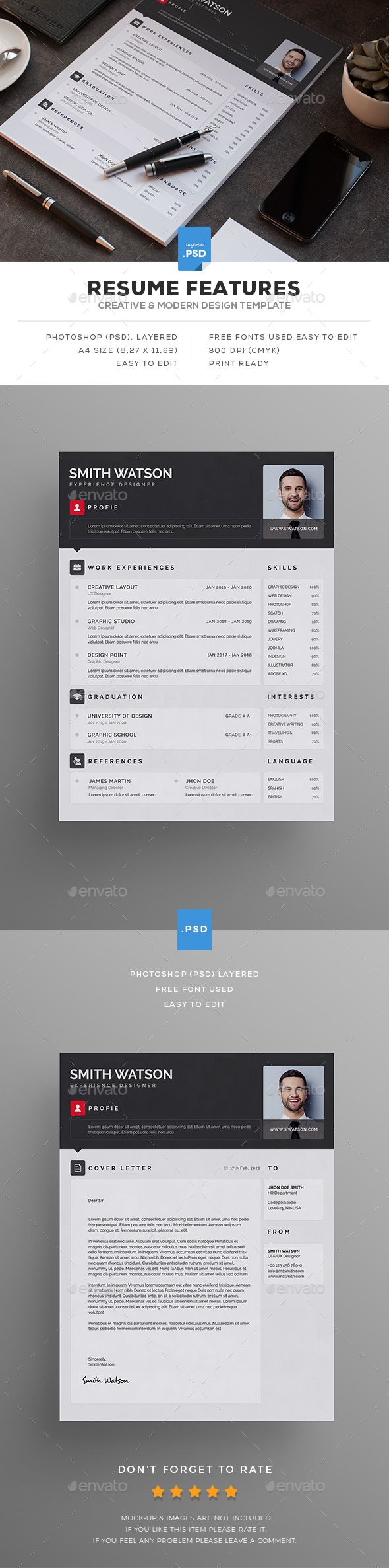 best images about resume cover letter resume photoshop psd resume print ready 10141