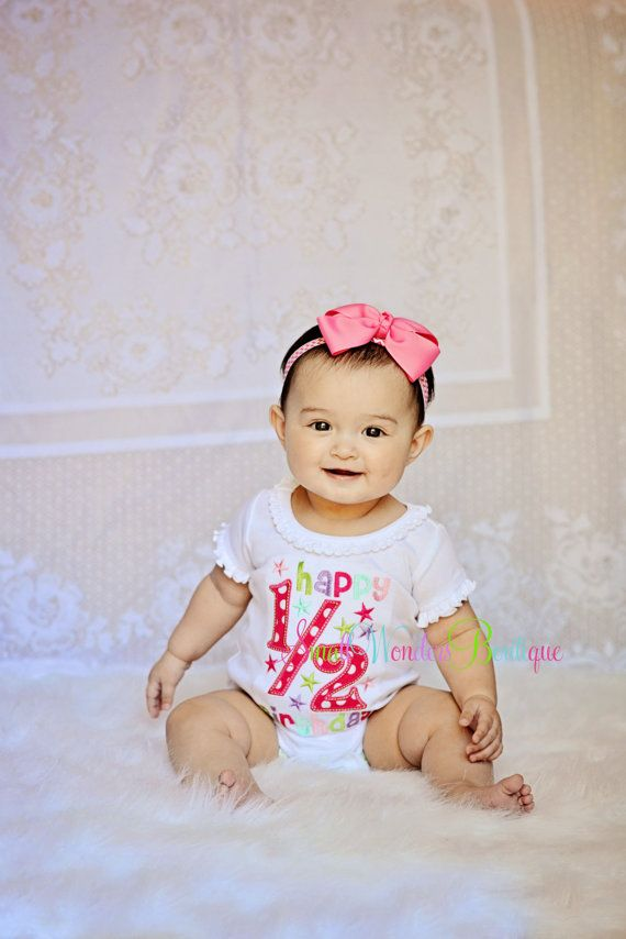 Happy 1/2 Birthday Embroidered Shirt  Half by smallwonders00, $22.00