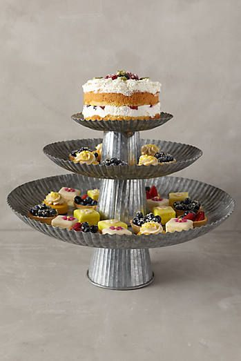 Galvanized Cake Stands - not so sure i would buy this but its interesting none the less.