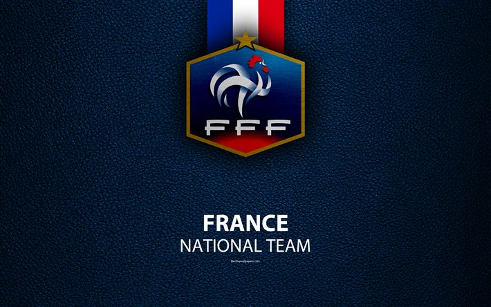 Download wallpapers France national football team, 4k, leather texture, coat of arms, emblem, logo, football, France