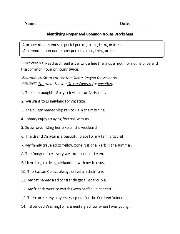 Identifying Proper and Common Noun Worksheet   6th ...
