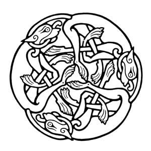 Clearer image - Three irish wolfhounhds from the Book of Kells
