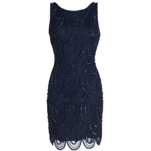 Women's Pisarro Nights Embellished Mesh Sheath Dress (€125) ❤ liked on Polyvore featuring dresses, midnight, petite, sequin cocktail dresses, sheath cocktail dress, petite cocktail dress, blue sparkly dress and mesh dress