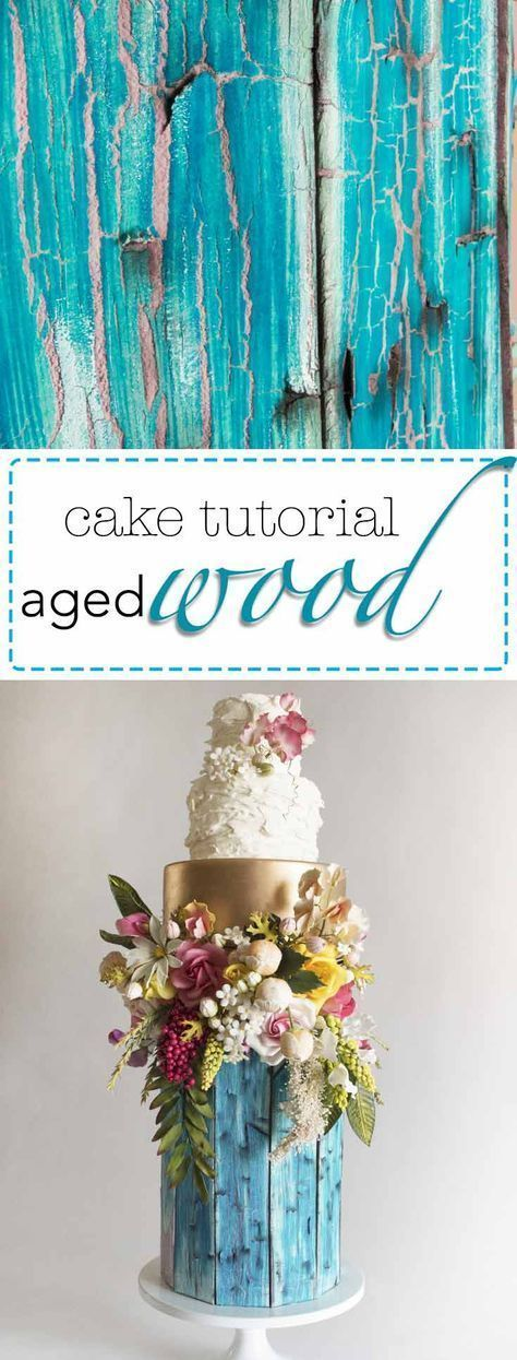 Learn to make this incredibly realistic aged, painted wood finish for cakes! It's easier than it looks and my simple tips and tricks will transform your next woodland style wedding cake design! Get the tutorial now! cake decorating tips and tricks