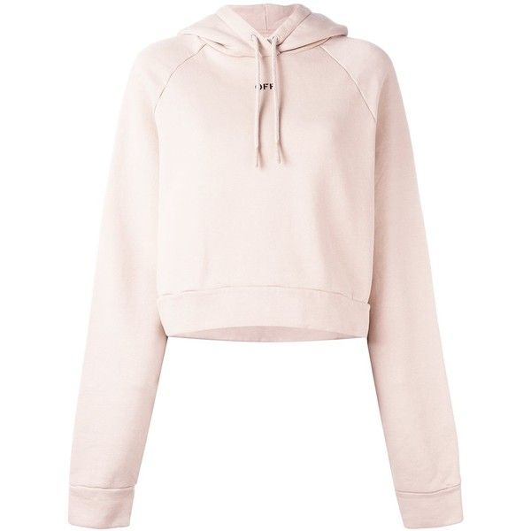 Off-White cropped hoodie (360.845 CLP) ❤ liked on Polyvore featuring tops, hoodies, sweaters, cropped hooded sweatshirt, off white tops, cotton hoodies, cotton hoodie and crop top