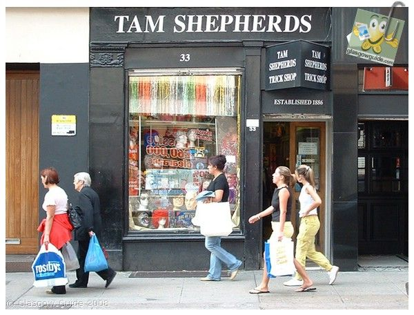 Tam Shepherds. Famous joke shop that has been on the same site on Queen Street for over 100 years