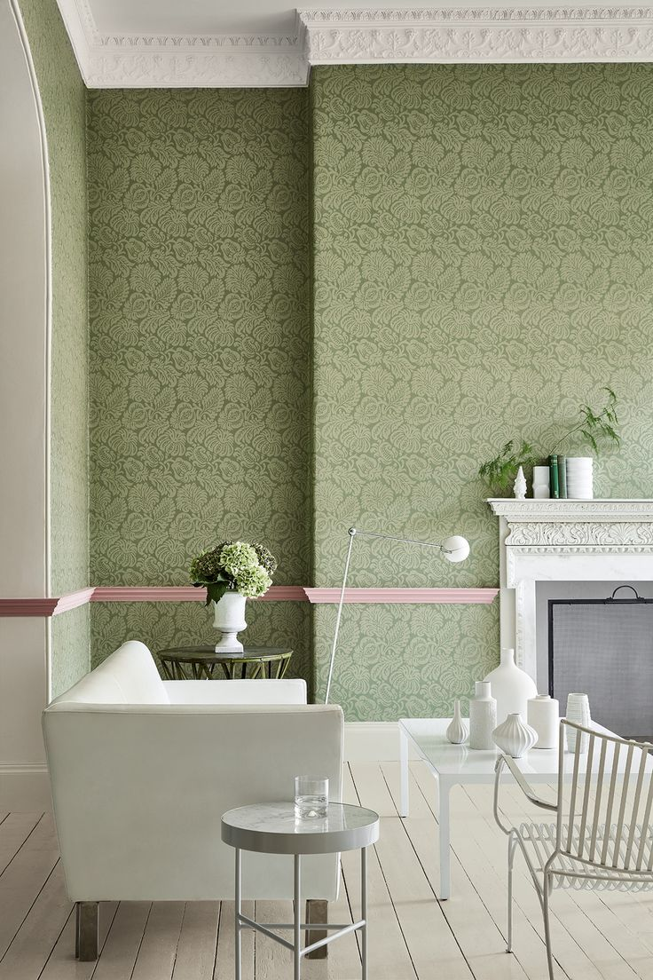 Wallpaper: Palace Road – Oakes Ceiling & cornice painted in: Slaked Lime 105 Dado rail painted in: Hellebore 275 Arch & skirting painted in: Slaked Lime Mid 149 Floor painted in: Slaked Lime Deep 150
