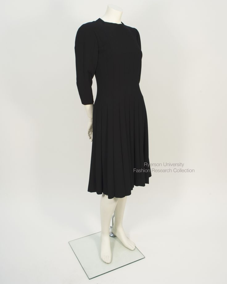 Black crepe Paulene Trigere cocktail dress. FRC 2015.05.001
