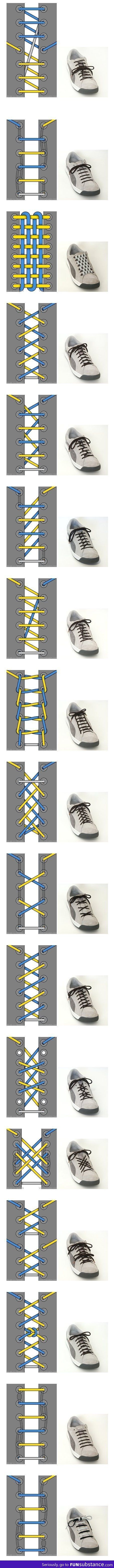 Different ways to tie your shoes
