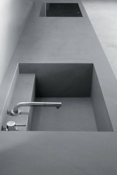 Minimalist Kitchen // grey concrete counter and sink by MK Style | 045 Kitchen