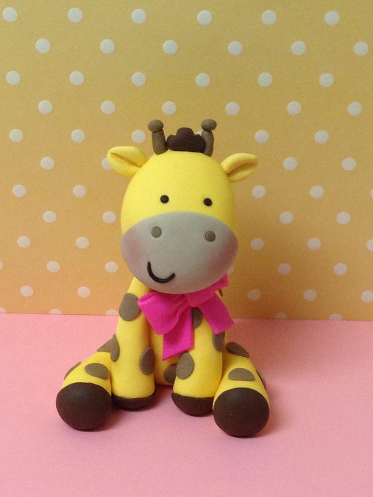 Fondant Baby Girl Giraffe cake topper.