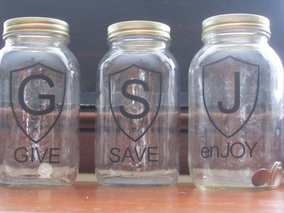 Give Save Spend Mason Jars... Dave Ramsey Budget System inspired!... bank/ modern piggy bank/ fund containers