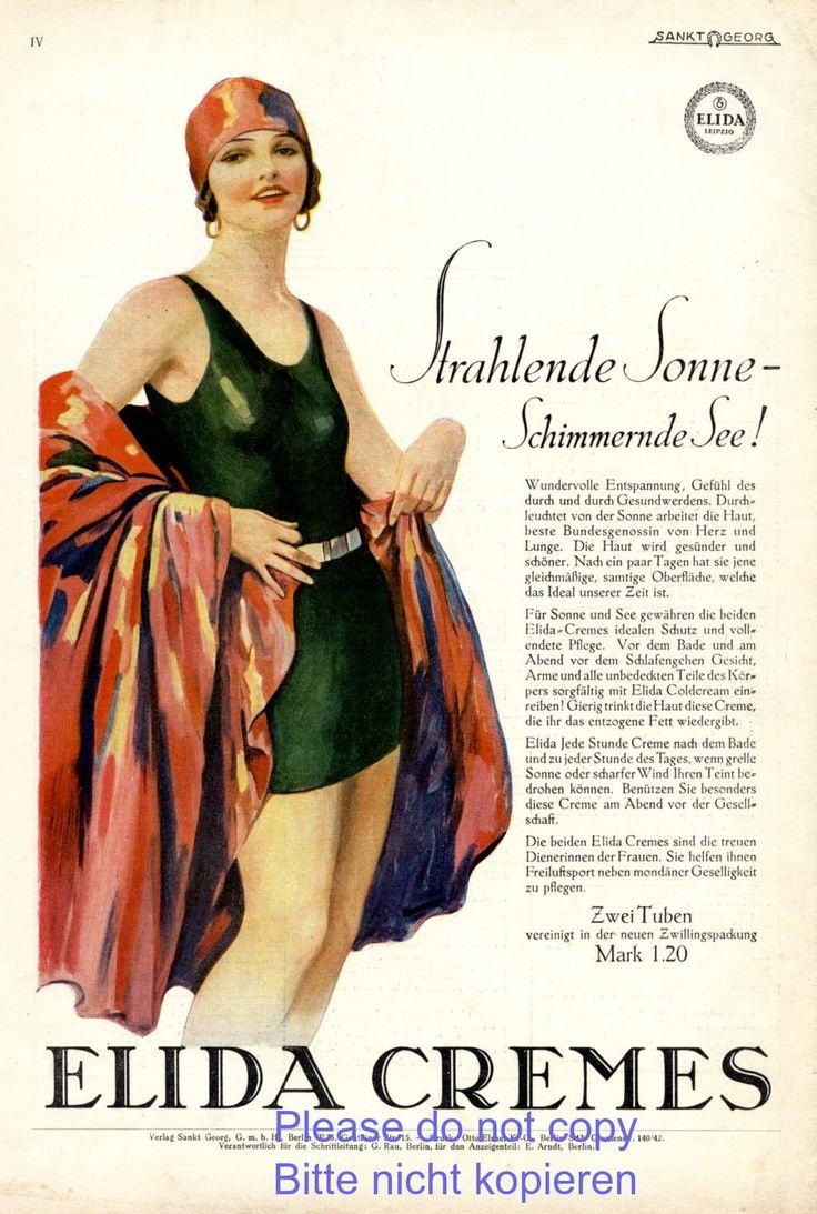 Elida Creme Reklame 1928 Badeanzug Bademode 20er Jahre Badekappe Badenixe Erotik in Sammeln & Seltenes, Reklame & Werbung, Originalwerbung vor 1950 | eBay!