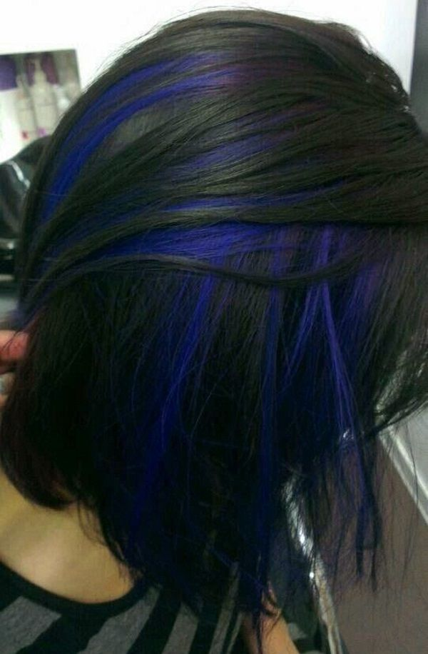 Blue Hair Streaks Black Hair With Highlights Brunette