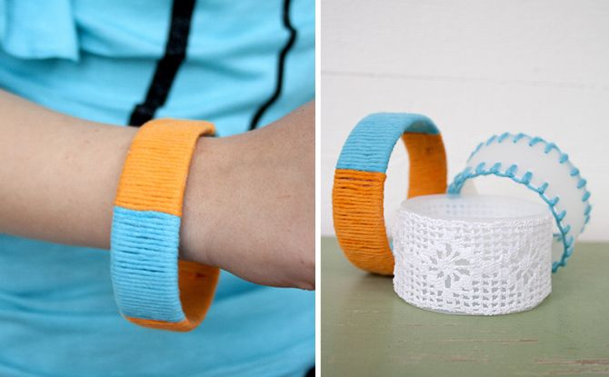Up-cycled bracelets made from plastic bottles and scraps of yarn and lace