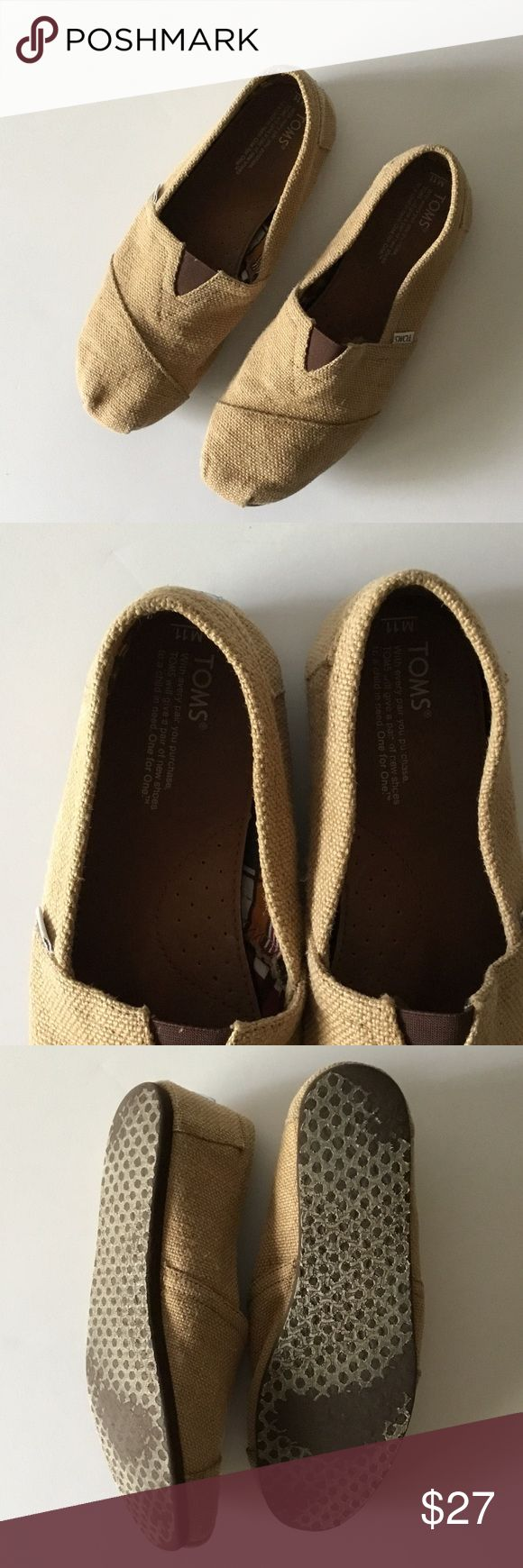 TOMS Mens Espadrilles  size 11 EUC TOMS burlap espadrilles men's in size 11. Gently used. A few wear marks in the front noted in photo. Excellent condition! TOMS Shoes Loafers & Slip-Ons